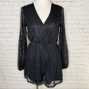 Altar'd State Black Heart Lace Romper Small